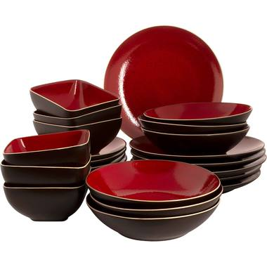 Palmer Serviesset Lava Stoneware 6-persoons 24-delig Rood Bruin 1