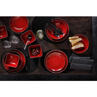Palmer Serviesset Lava Stoneware 6-persoons 24-delig Rood Bruin 2
